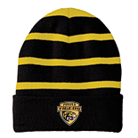 Striped Beanie With Solid Band - Pueblo Tigers